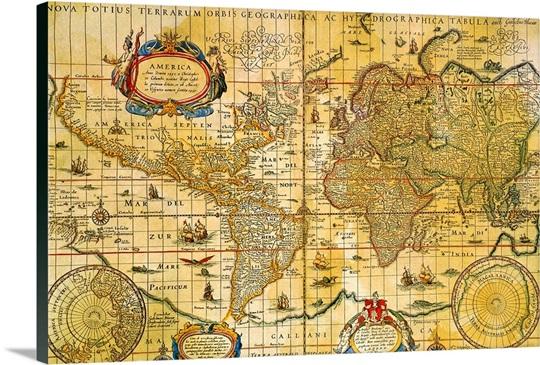 Antique Maps Canvas Art Prints | Antique Maps Panoramic Photos ... Antique Continent Maps