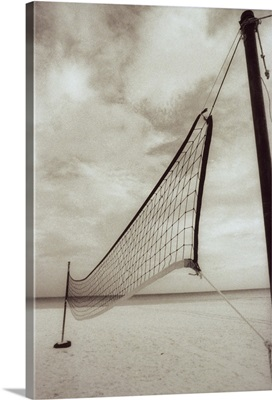 Volleyball net on the beach, Cancun, Mexico