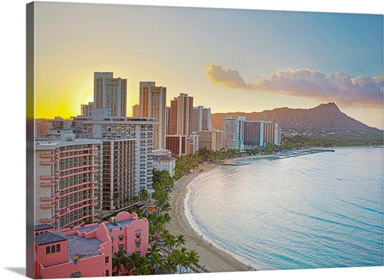Waikiki Beach And Diamond Head Crater At Sunrise In Honolulu Oahu Hawaii