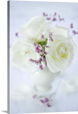 White roses in vase