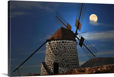 Windmill against sky with full moon, Killkenny, Leinster.