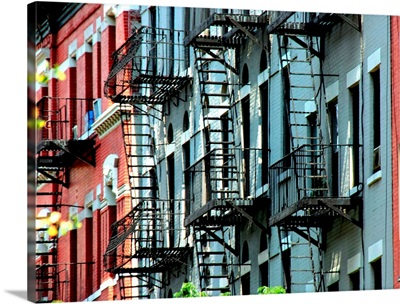 Windows and emergency stairs in New York City.