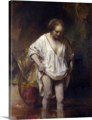 Woman Bathing In A Stream By Rembrandt Van Rijn