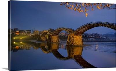 Wooden arch bridge in Iwakuni, Japan.