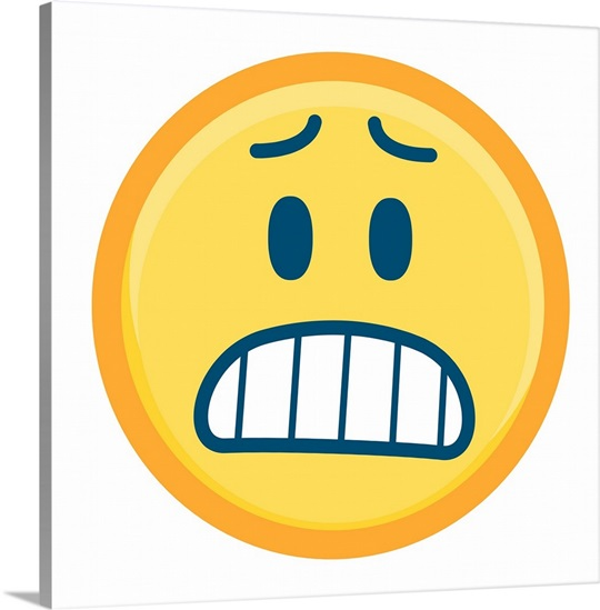 Emoji Wall Art worried emoji with teeth showing wall art, canvas prints, framed