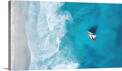 Yacht On The Water Surface, Summer Seascape From Air