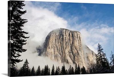 Yosemite in November El Capitan coming out of fog.