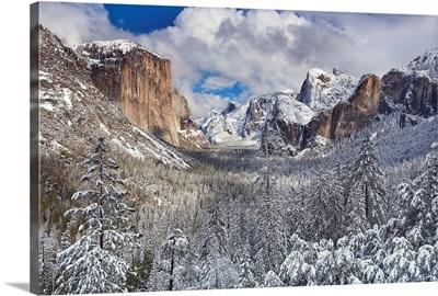 Yosemite National Park, California after snow storm