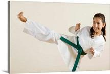Young girl doing karate kick