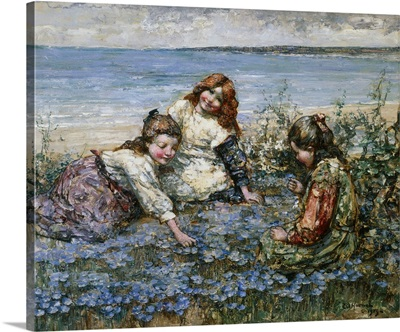 Young Girls In A Field Of Cornflowers By Edward Atkinson Hornel