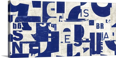 Collaged Letters Blue B