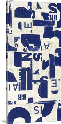 Collaged Letters Blue E