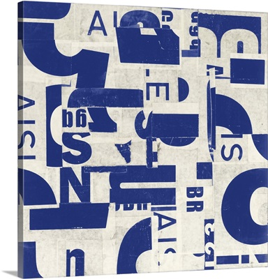 Collaged Letters Blue III