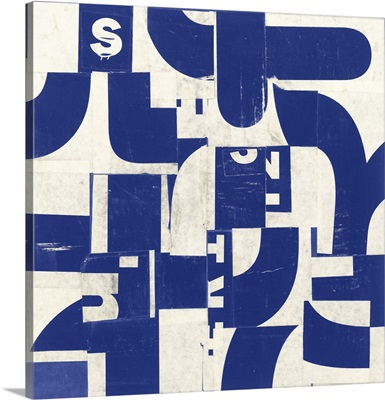 Collaged Letters Blue IV