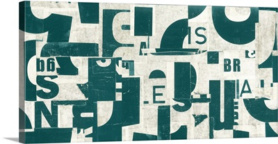 Collaged Letters Dark Green B