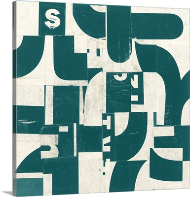 Collaged Letters Dark Green D