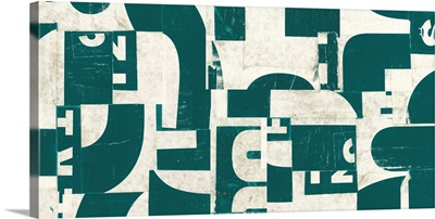 Collaged Letters Dark Green F