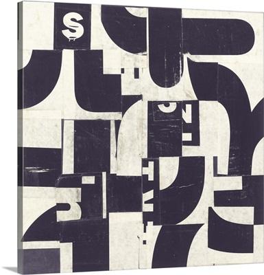 Collaged Letters Purple D