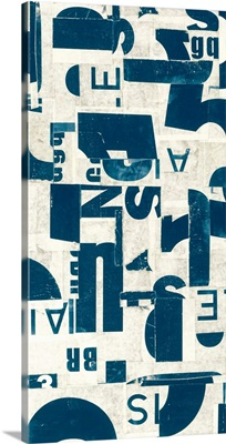 Collaged Letters Teal E