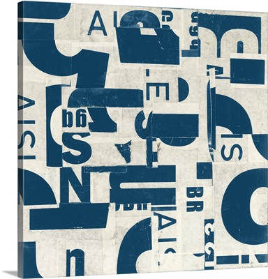 Collaged Letters Teal III