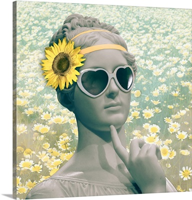 Hipster Statue with Sunflowers