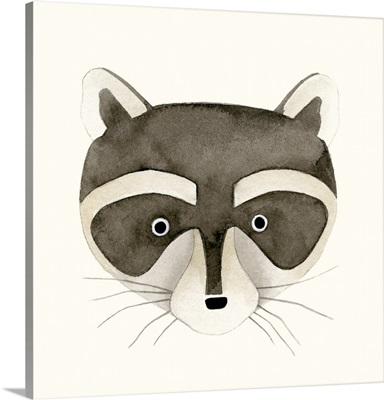 Raccoon Watercolor Face