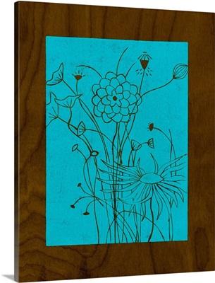 Wenge Wood Floral II-Blue