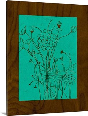 Wenge Wood Floral II-Teal
