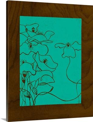 Wenge Wood Floral III-Teal