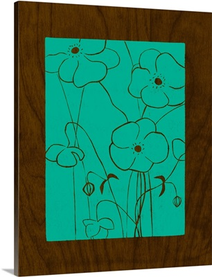 Wenge Wood Floral IV-Teal