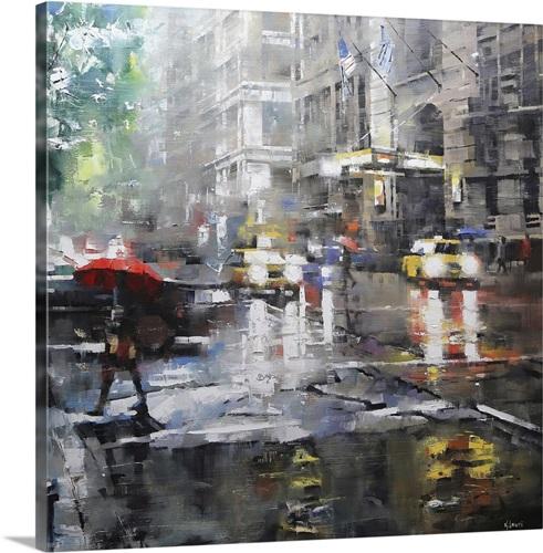 New York Taxi Street City Canvas Wall Art Picture Print Va: Manhattan Red Umbrella Wall Art, Canvas Prints, Framed