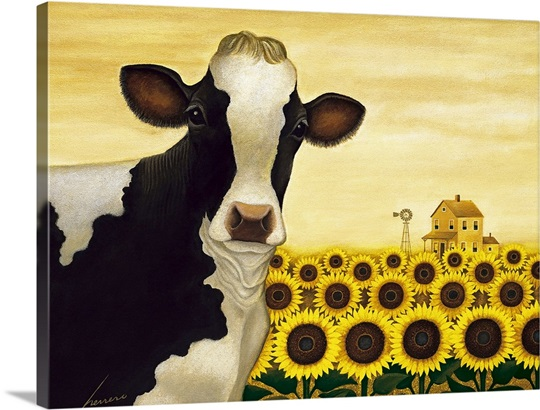 Sunflower Cow Wall Art, Canvas Prints, Framed Prints, Wall Peels ...