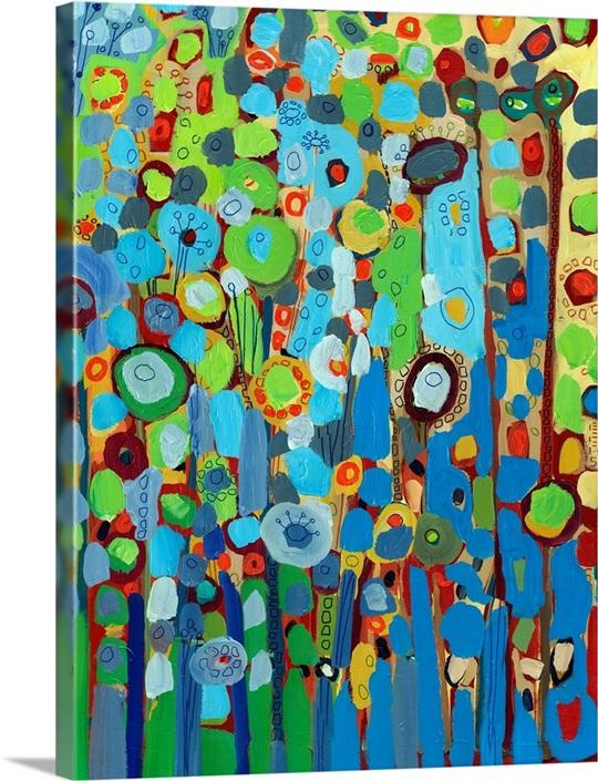 Growing in blue wall art by jennifer lommers growing in blue canvas