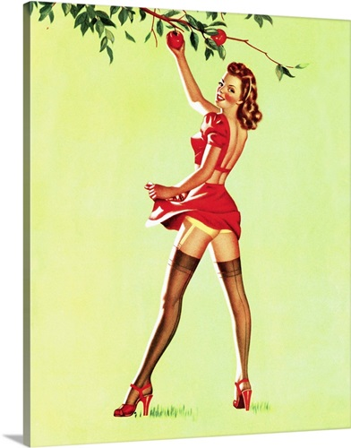 Apple Picking Pin Up Girl Wall Art, Canvas Prints, Framed Prints ...