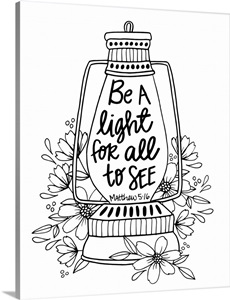 Be A Light For All To See Handlettered Coloring Wall Art