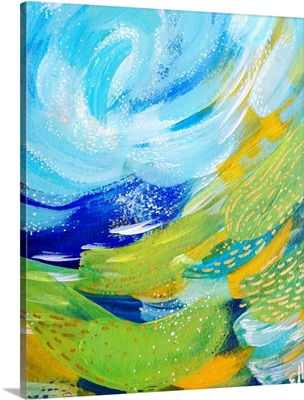 Bright Brush Strokes Green And Blue