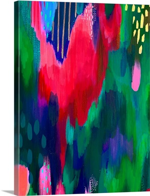 Bright Brush Strokes Green And Dark Pink