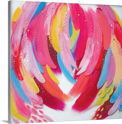 Bright Brush Strokes Pink And White