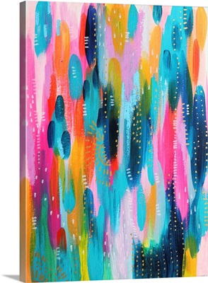 Bright Brush Strokes Teal And Pink