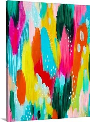 Bright Brushstrokes Teal And Yellow