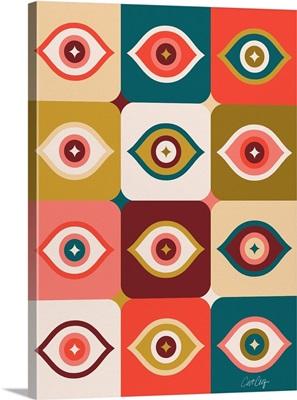 Checkered Retro Eyes - Cherry Teal