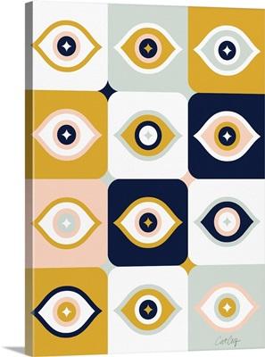 Checkered Retro Eyes - Orchre Mint Navy