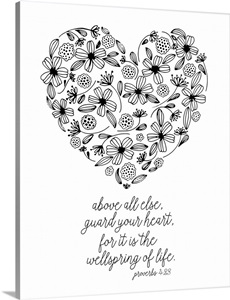 Guard Your Heart Handlettered Coloring Wall Art, Canvas
