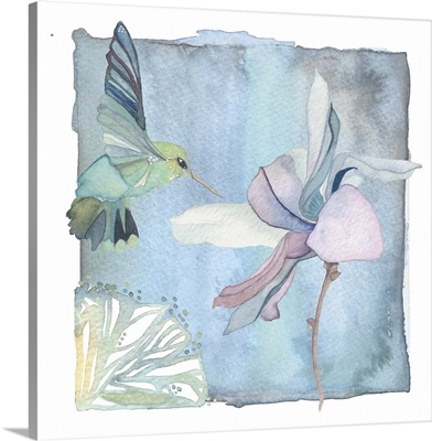 Hummingbird and Flower - Blue Orchid