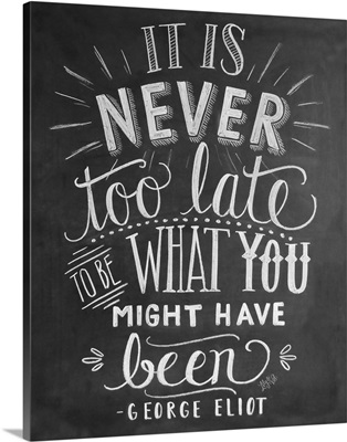 It Is Never Too Late Handlettering