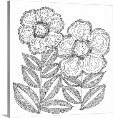 Lined Sunflowers Coloring