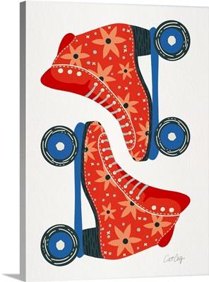 Retro Roller Skates - Red On White