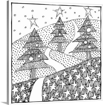 Three Christmas Trees Coloring