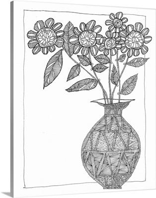 Vase With Gerberas Coloring