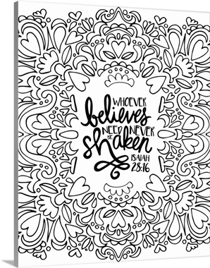 whoever believes need never be shaken handlettered coloring canvas